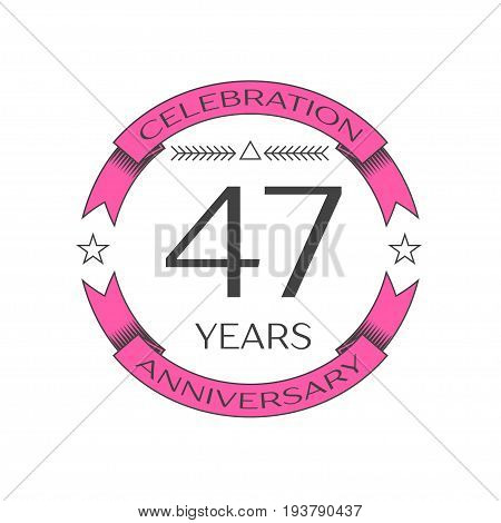 Realistic forty seven years anniversary celebration logo with ring and ribbon on white background. Vector template for your design