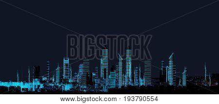 Render hologram futuristic 3d city neon light. Rendering. 3D Illustration. Cityscape