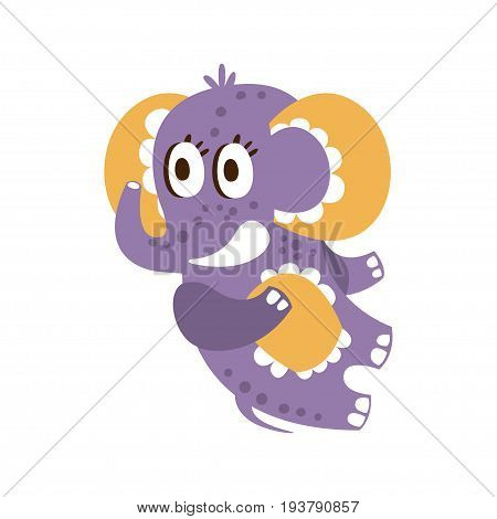 Adorable cartoon baby elephant character lying on his back vector Illustration isolated on a white background