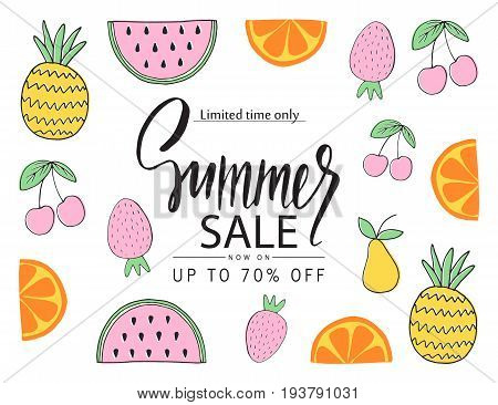 Summer sale banner poster with hand drawn fruit. Vector illustration