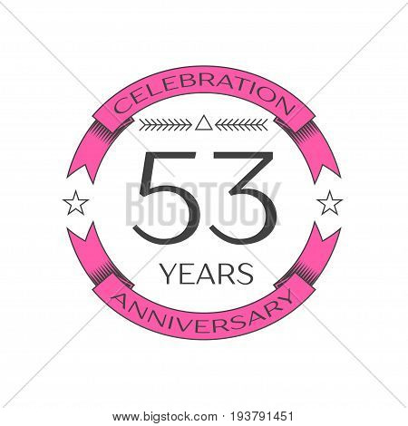 Realistic fifty three years anniversary celebration logo with ring and ribbon on white background. Vector template for your design