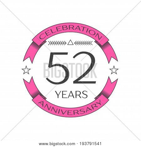 Realistic fifty two years anniversary celebration logo with ring and ribbon on white background. Vector template for your design