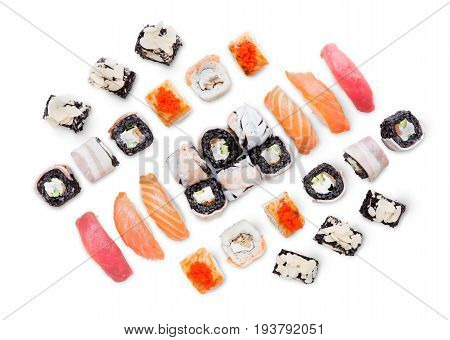 Black rice sushi rolls and maki, unagi, california big party platter set isolated on white background, top view. Japanese food restaurant delivery