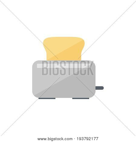 Flat toaster icon. Vector illustration isolated on a white background. Simple color pictogram of toaster.