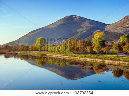 Bank of Trebisnjica river (sinking river). Trebinje city. Bosnia and Herzegovina.