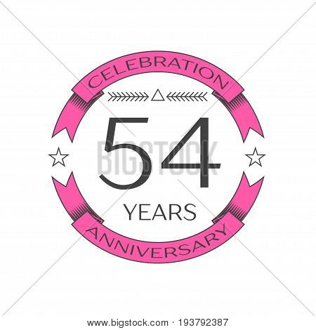 Realistic fifty four years anniversary celebration logo with ring and ribbon on white background. Vector template for your design
