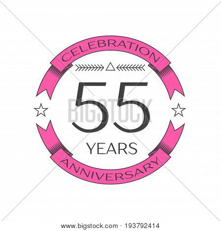 Realistic fifty five years anniversary celebration logo with ring and ribbon on white background. Vector template for your design