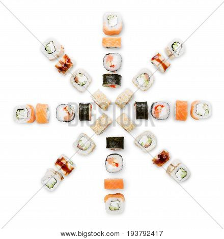 Sushi, rolls, maki, gunkan and california big party platter set isolated on white background, top view. Japanese food restaurant delivery