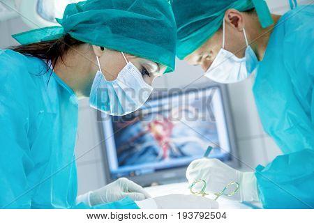 Doctor operation white background isolated equipment female