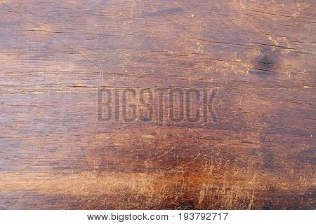 Vintage texture from old shabby dry brown wooden board  front view horizontal closeup