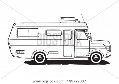 Camping caravan. Motorhome, amper car. Black and white van, hand drawn illustration