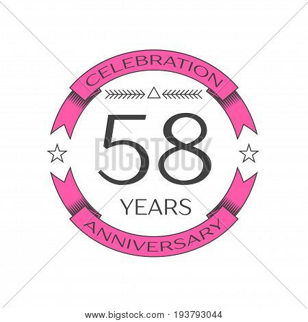 Realistic fifty eight years anniversary celebration logo with ring and ribbon on white background. Vector template for your design