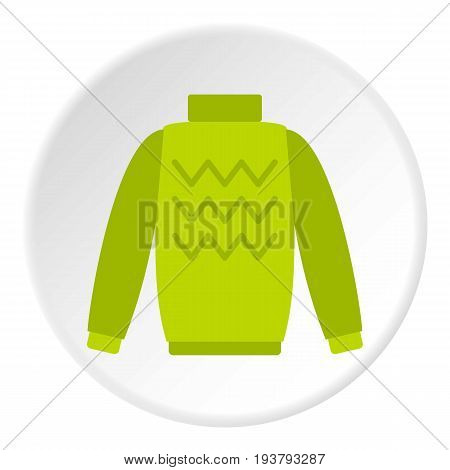 Pullover icon in flat circle isolated vector illustration for web