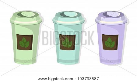 Tea paper cups set icon template. Pink quartz and serenity Vector templates