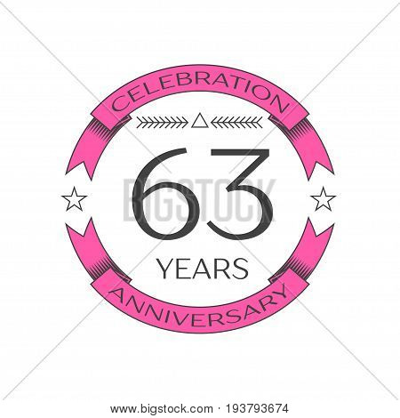 Realistic sixty three years anniversary celebration logo with ring and ribbon on white background. Vector template for your design