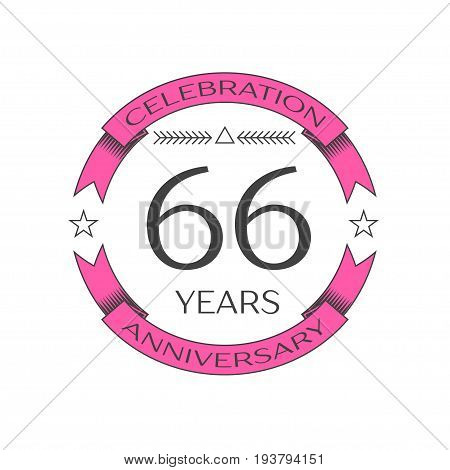 Realistic sixty six years anniversary celebration logo with ring and ribbon on white background. Vector template for your design