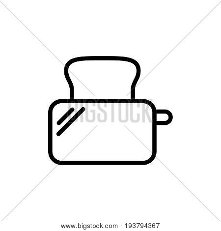Thin line toaster icon. Vector illustration isolated on a white background. Simple outline pictogram of toaster.