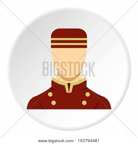 Doorman in red uniform icon in flat circle isolated vector illustration for web