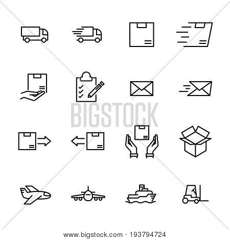 Set of 16 delivery thin line icons. High quality pictograms of logistics. Modern line art style icons collection.