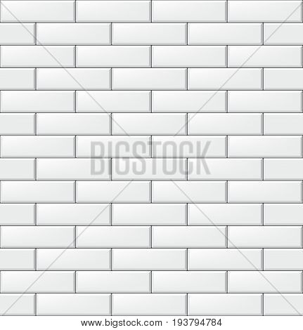 Seamless pattern with modern rectangular brick white tiles. Realistic horizontal texture. Vector illustration