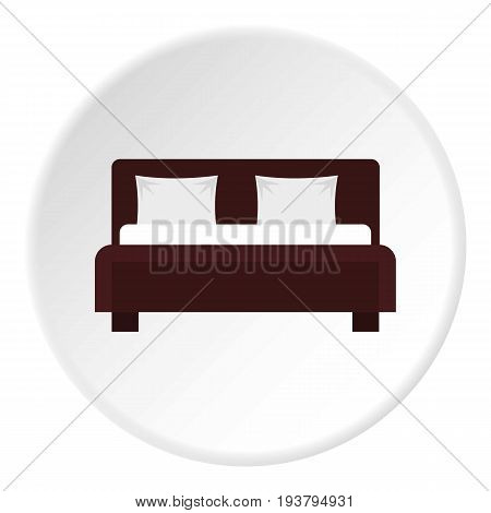 Double bed icon in flat circle isolated vector illustration for web