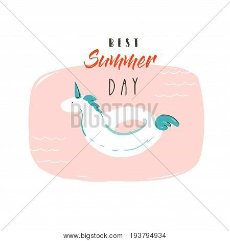 Hand drawn vector abstract summer time fun illustration with unicorn buoy ring in pastel colors and modern typography quote Best Summer Day isolated on white background.