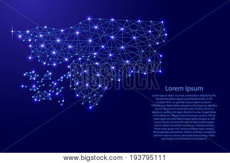 Map of Guinea-Bissau from polygonal blue lines and glowing stars vector illustration