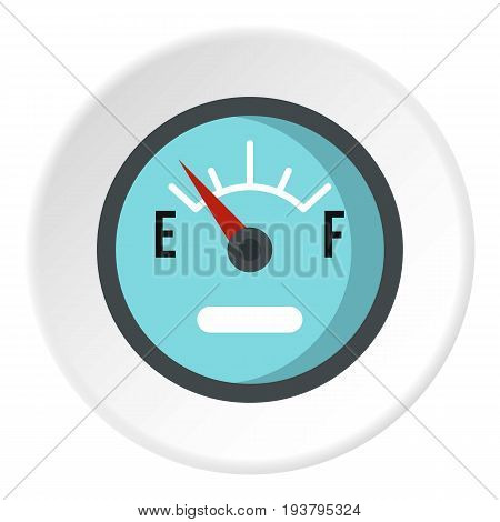 Automobile fuel sensor icon in flat circle isolated vector illustration for web