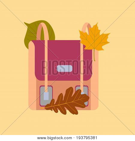 flat icon on stylish background leaves school bag