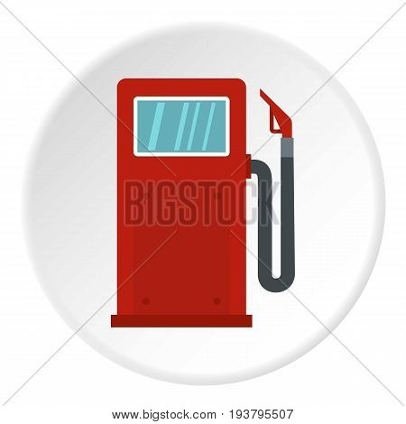 Red gasoline pump icon in flat circle isolated vector illustration for web