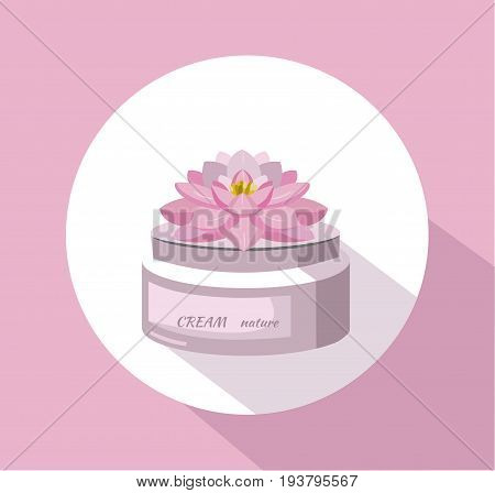 Vector Cosmetics waterlily cream package icons. Hydration lotion. Perfect for advertising, flyer, banner, poster. 2d illustration