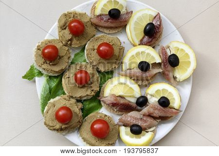 Various Canape On Plate