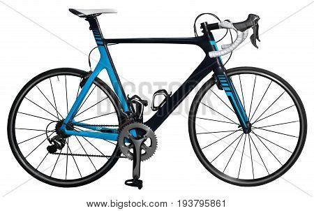 Carbon racing bicycle close-up isolated on white background