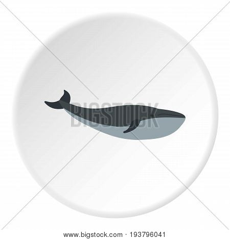 Whale icon in flat circle isolated vector illustration for web