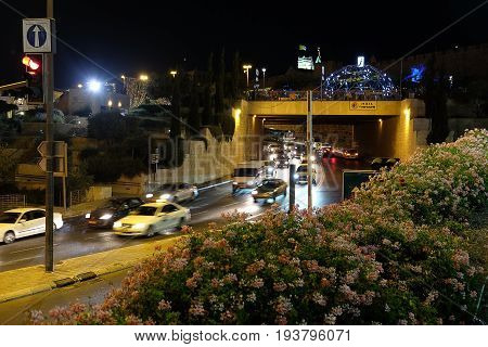 JERUSALEM ISRAEL - JUNE 28 2017: Festival of Light 2017 in Jerusalem. Jaffa Street