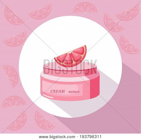 Vector Cosmetics grapefruit cream package icons. Hydration lotion. Perfect for advertising, flyer, banner, poster. 2d illustrations