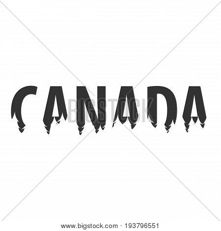 Canada. Text Or Labels With Silhouette Of Forest.