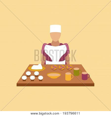 flat icon on stylish background education school cook
