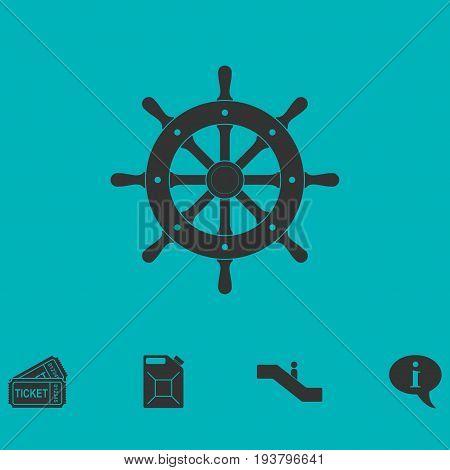 Rudder icon flat. Simple vector symbol and bonus icon