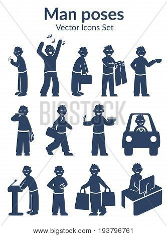 Sketch lifestyle characters set with man different daily routine activities in dark blue color isolated vector illustration