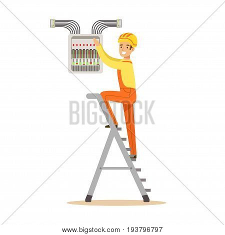 Electrician standing on a stepladder and screwing equipment in fuse box, electric man performing electrical works vector Illustration isolated on a white background
