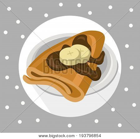 Pancakes chocolate syrop and banana flavor Vector icon template retro style dotted
