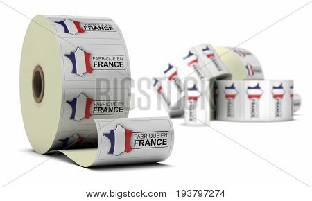Made in France French Product Stickers over white background, blur effect.