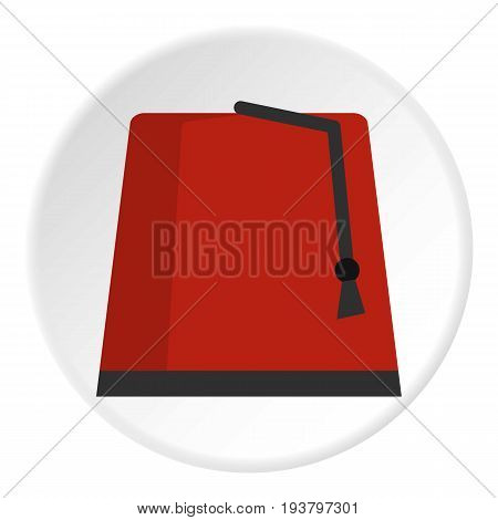 Red turkish fez icon in flat circle isolated vector illustration for web