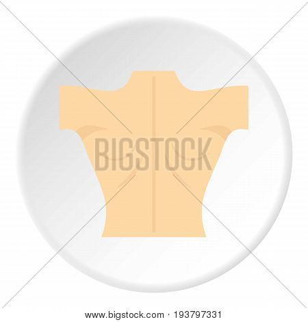 Naked human back icon in flat circle isolated vector illustration for web