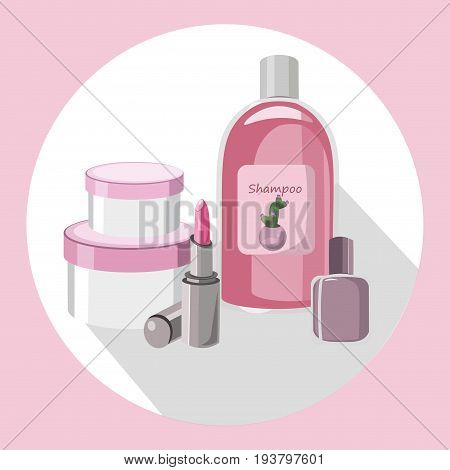 Vector Cosmetics set package. Hydration cream and lotion, shampoo, nail polish, lip balm. Perfect for advertising, flyer, banner, poster. Pink color 2d