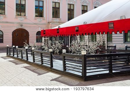 SAINT PETERSBURG RUSSIA - MAY 3 2017: Restaurant Gloss Cafe in courtyard of Stroganov Palace Nevsky Prospect 17 St. Petersburg Russia