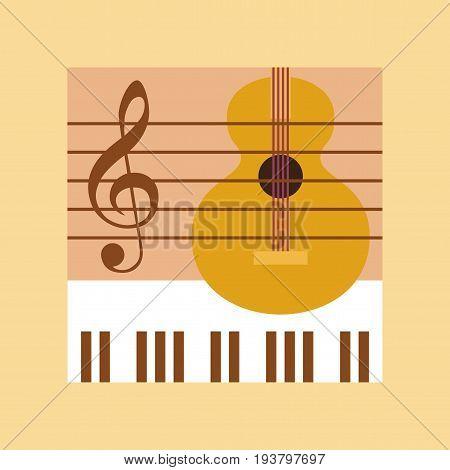 flat icon on stylish background school music lesson