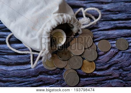 Golden coin and old coin falling or golden coin and old coin image use for business concept or financial concept background