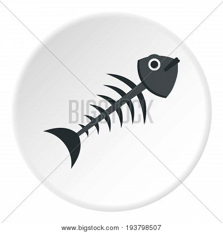 Fish bone icon in flat circle isolated vector illustration for web